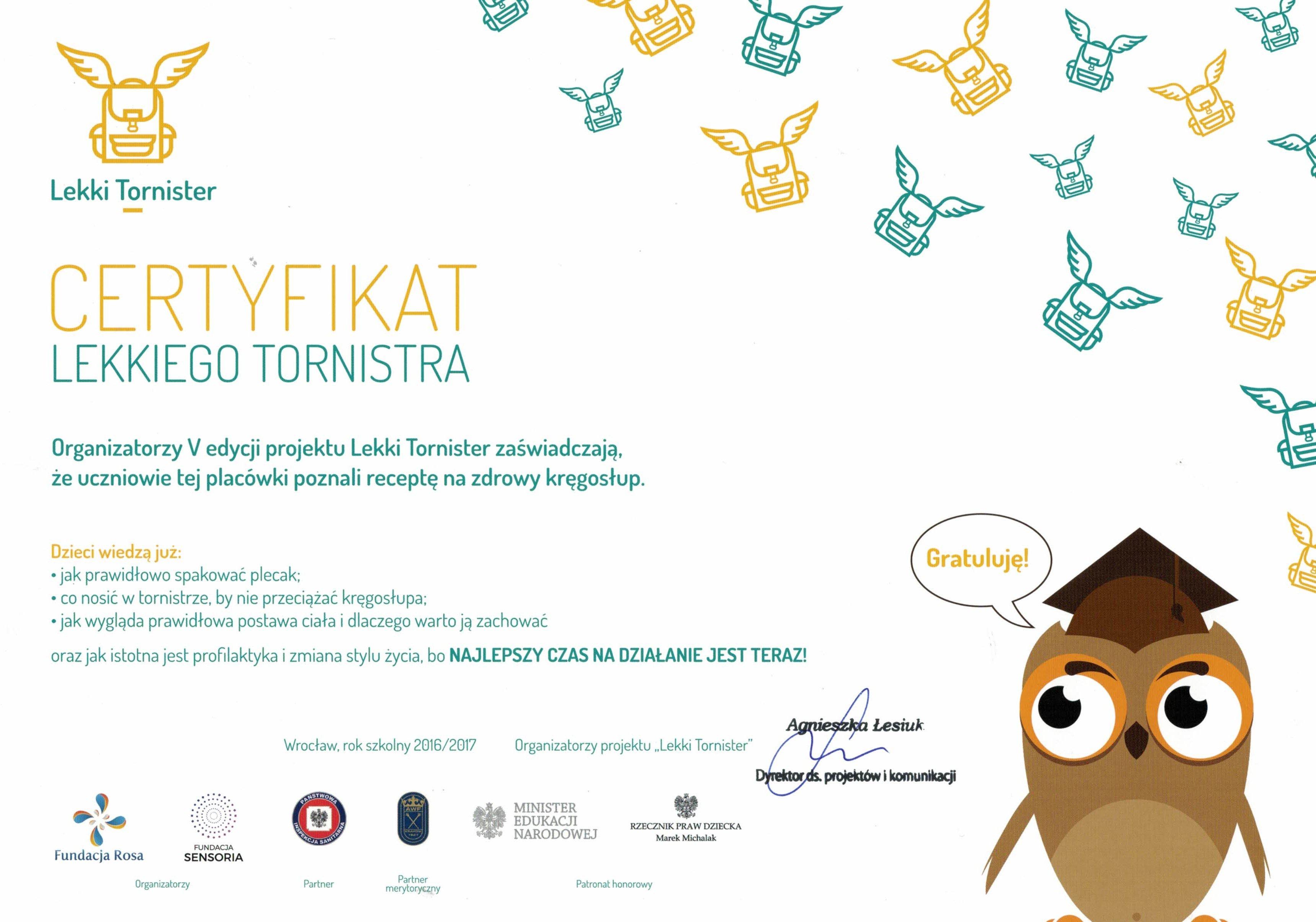 b933a9b4164a9 Certyfikat Lekkiego Tornistra – Szkoła Podstawowa im. Królowej ...